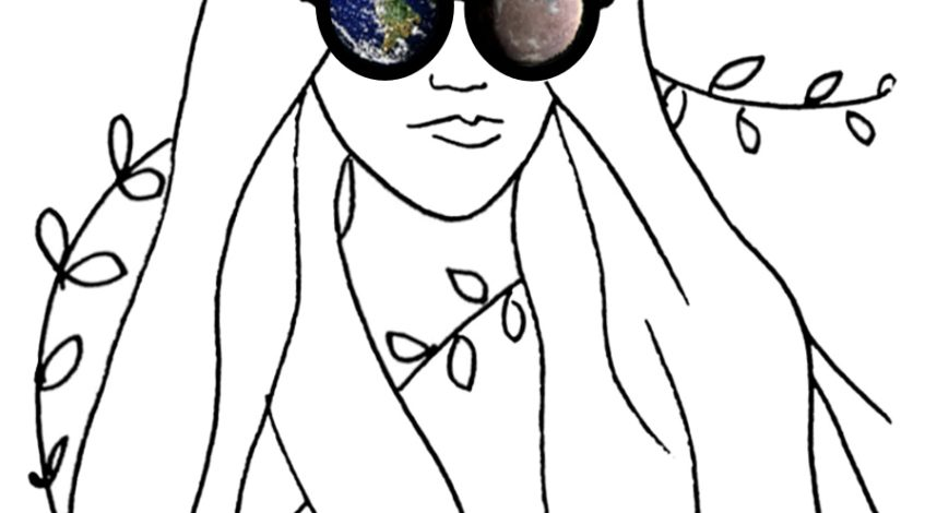 Illustration of a girl with planets in her lenses.